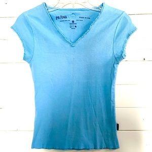 Prana Raw Edge Baby Blue Tee Shirt